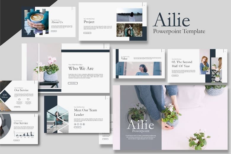 Ailie Template Powerpoint - giao diện mềm mại