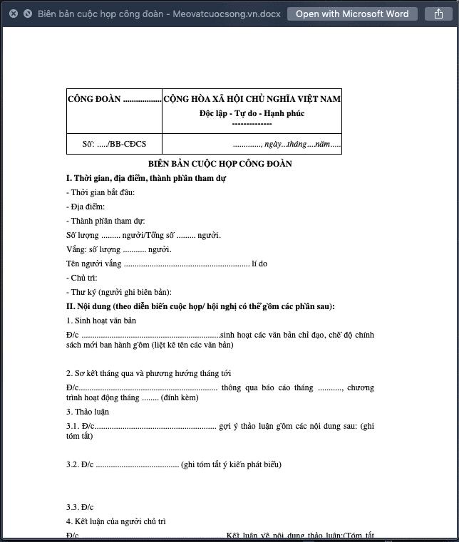 Biên bản cuộc họp công đoàn