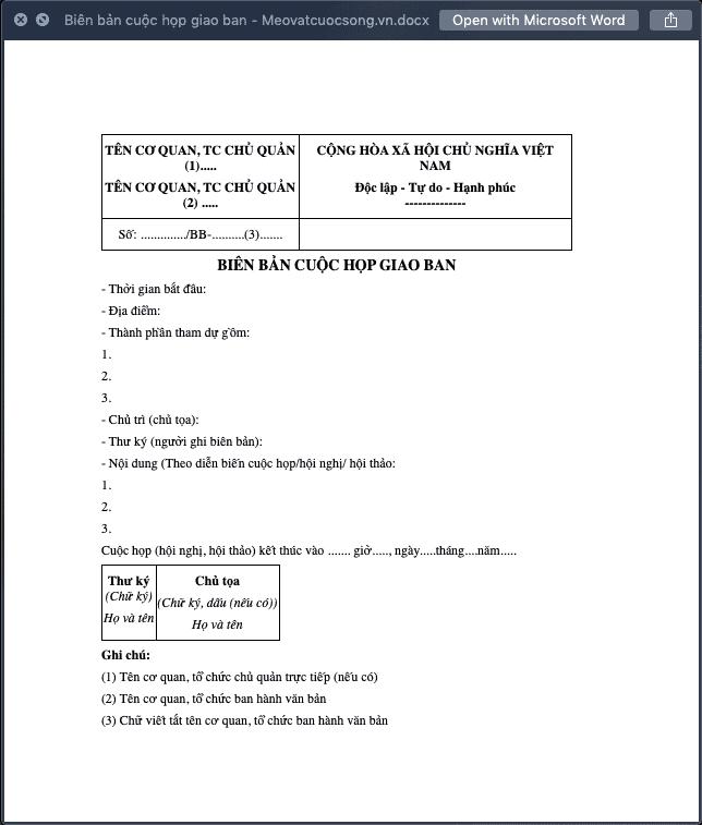Biên bản cuộc họp giao ban