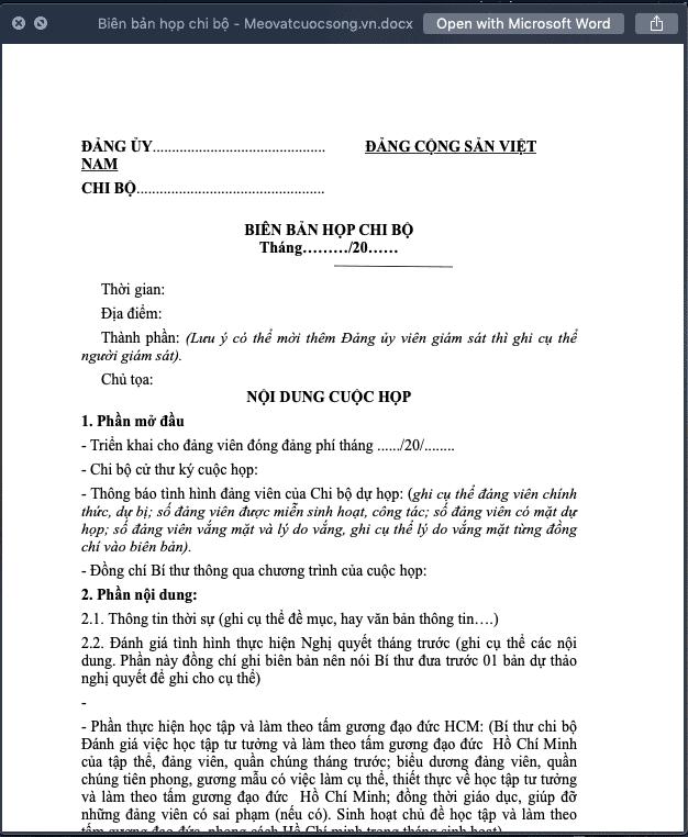 Biên bản họp chi bộ