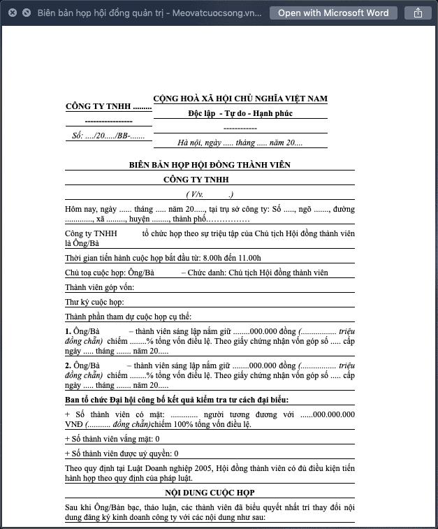 Biên bản họp hội đồng quản trị