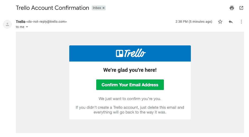 Xác nhận đăng ký của Trello trong mail