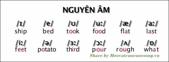 Phiên âm 5 nguyên âm
