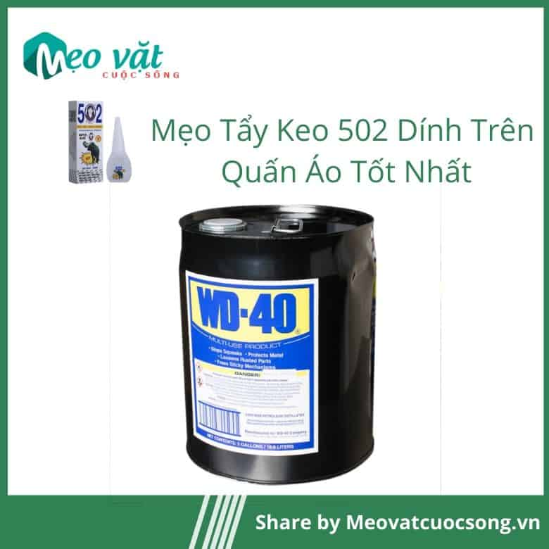 Tẩy keo 502 dính trên quần áo bằng dầu chống gỉ